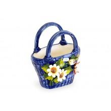 Bolsa pequena azul com flores