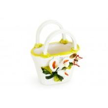 Bolsa pequena verde com flores
