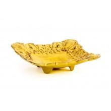 Prato Quadrado de Cerâmica Amarelo