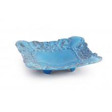 Prato Quadrado de Cerâmica Azul